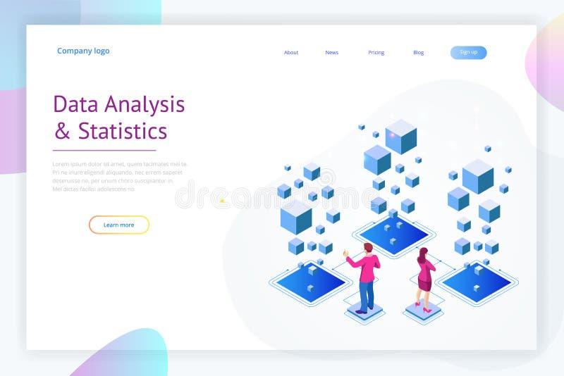 Isometrisch Deskundigenteam voor Gegevensanalyse, Bedrijfsstatistiek, Beheer, het Raadplegen, Marketing Landend Paginamalplaatje stock illustratie