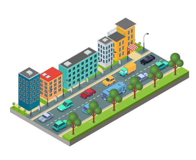 Isometrisch die element van stadsweg met gebouwen en auto's in opstopping op witte achtergrond wordt geïsoleerd vector illustratie