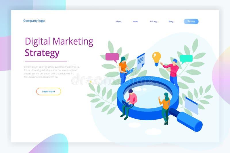Isometrisch Digitaal marketing de bannerconcept van het strategieweb De wolk van analysegegevens en Investeringslandingspagina me vector illustratie