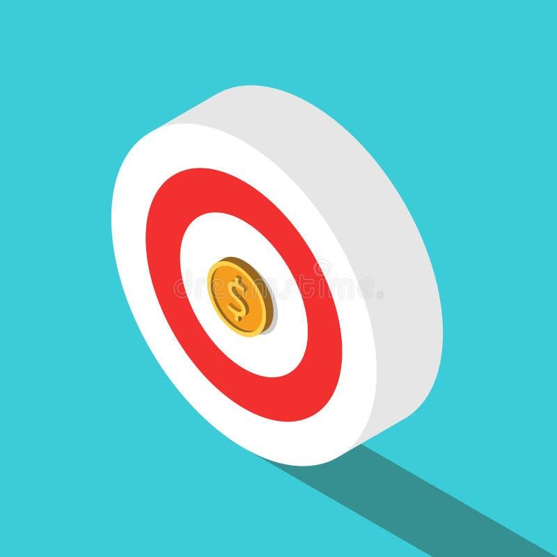 Isometrisch doel, dollarmuntstuk royalty-vrije illustratie