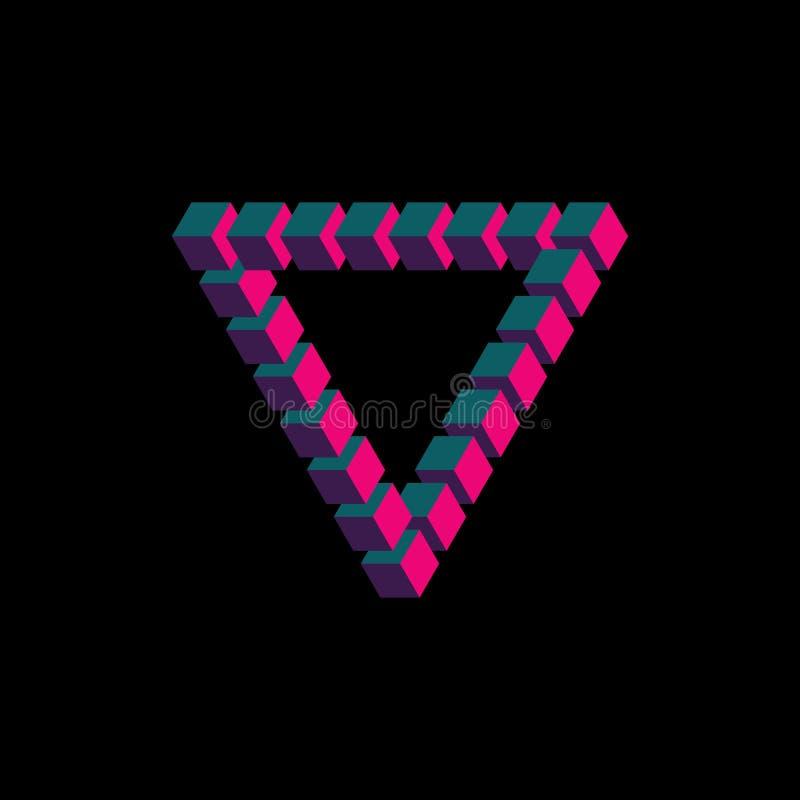 Isometrisch driehoeksembleem De vector van de Penrosedriehoek, het element vectoreps10 van het embleemontwerp vector illustratie