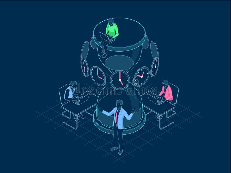Isometrisch Efficiënt tijdbeheer in overzichtsconcept De bedrijfsmensen plannen en organiseren werktijd, behandelen stock illustratie