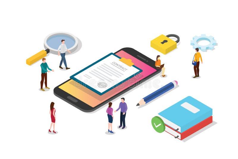 Isometrisch elektronisch digitaal contractconcept met van teammensen en contracten document document - vector vector illustratie