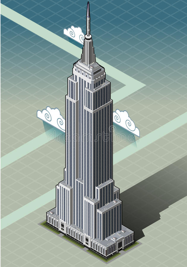 Isometrisch Empire State Building royalty-vrije illustratie
