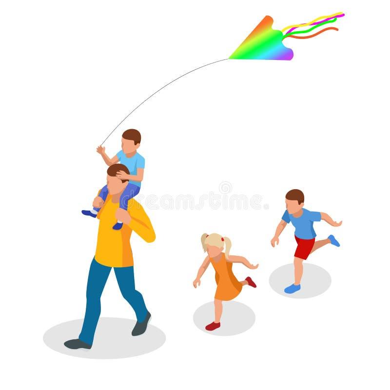 Isometrisch glücklicher Familienvater und Kindertochter bringen Drachen in die Natur Outdoor, Spielen mit Windspielzeug am Wochen stock abbildung