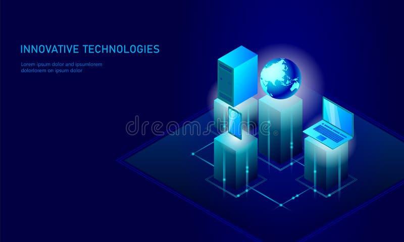 Isometrisch globaal van de bedrijfs voorzien van een netwerkaarde concept De blauwe het gloeien isometrische persoonlijke verbind royalty-vrije illustratie