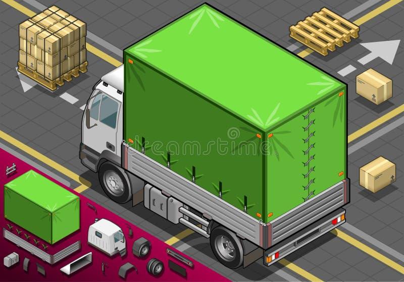 Isometrisch heben Sie LKW mit Plane in der hinteren Ansicht auf lizenzfreie abbildung