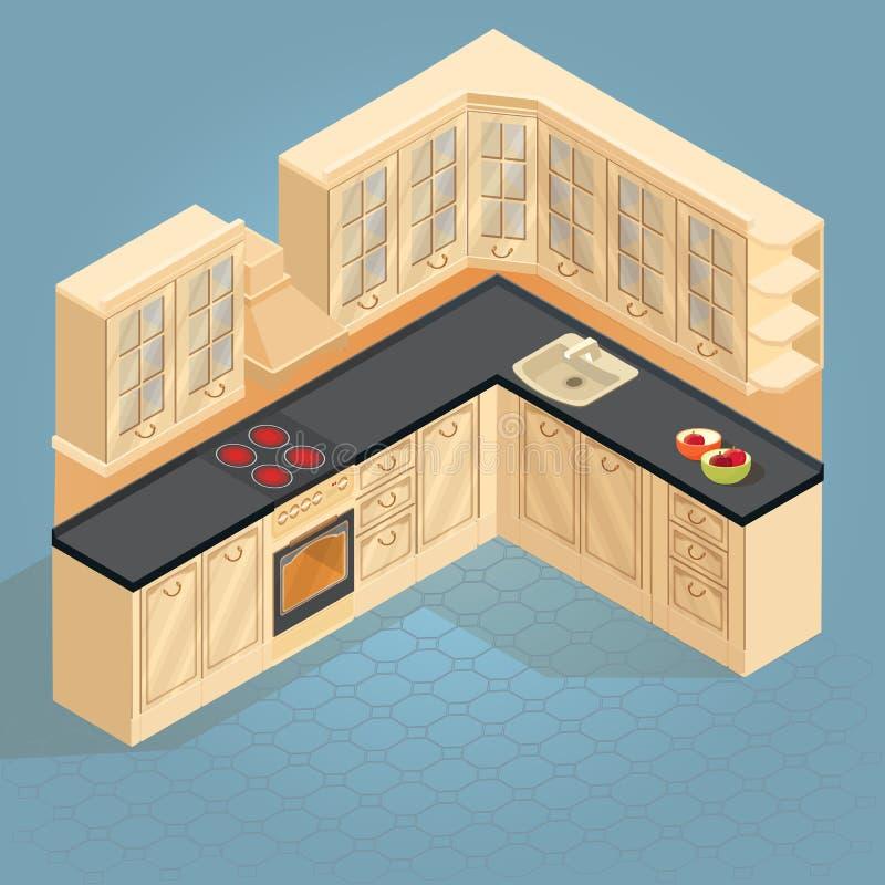 Isometrisch het meubilairpictogram van de beeldverhaal retro keuken Vector vector illustratie