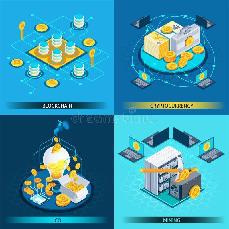 Isometrisch het Ontwerpconcept van Blockchaincryptocurrency stock illustratie