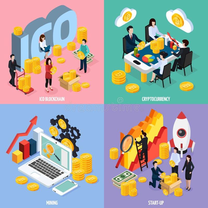 Isometrisch het Ontwerpconcept van ICO Blockchain royalty-vrije illustratie