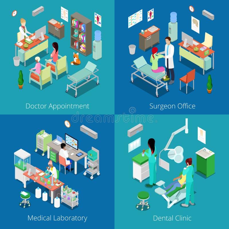Isometrisch het Ziekenhuisbinnenland Arts Appointment, Medisch Laboratorium, Tandkliniek, Chirurg Office vector illustratie