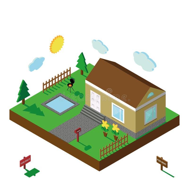 Isometrisch Huis 3D Dorpslandschap, de zomerwerf royalty-vrije illustratie