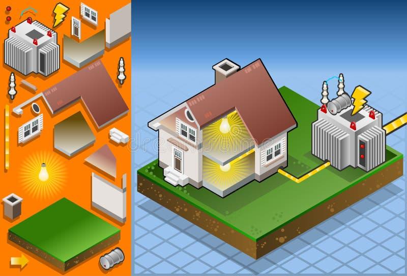 Isometrisch huis dat door elektrotransformator wordt aangedreven stock illustratie