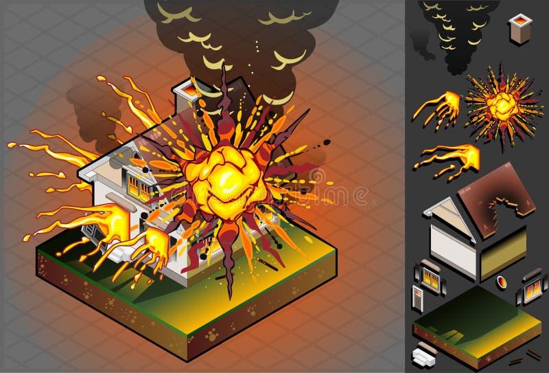 Isometrisch Huis dat door explosie wordt geraakt royalty-vrije illustratie