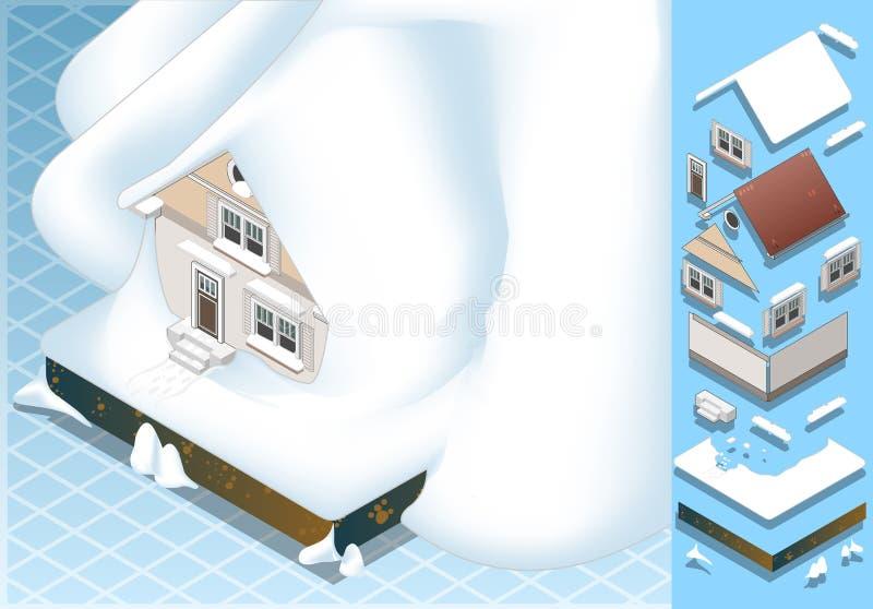 Isometrisch huis dat door grondverschuiving van Sneeuw wordt geraakt royalty-vrije illustratie