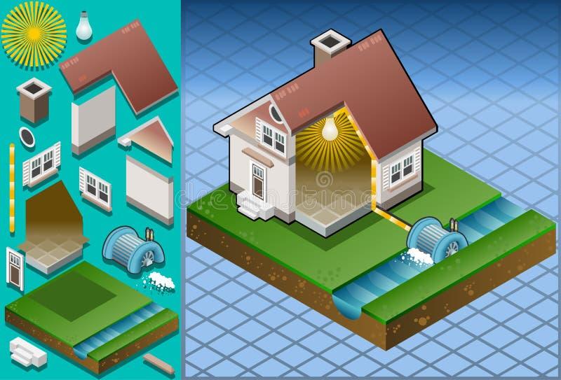 Isometrisch huis dat door watermill wordt aangedreven stock illustratie