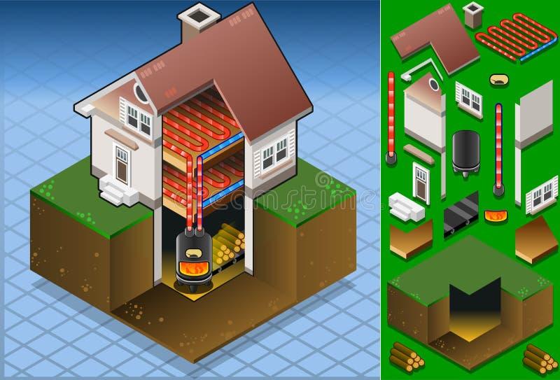 Isometrisch huis met Hout in brand gestoken boiler royalty-vrije illustratie