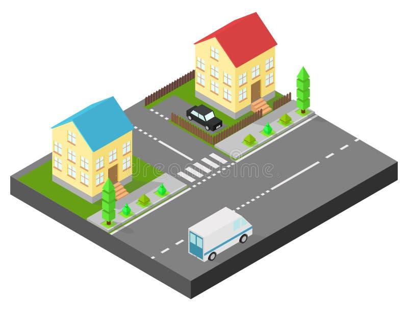 Isometrisch Huis Twee huizen op dezelfde straat Stoep met bomen, de weg de auto De werf is geschermd met een houten omheining stock illustratie