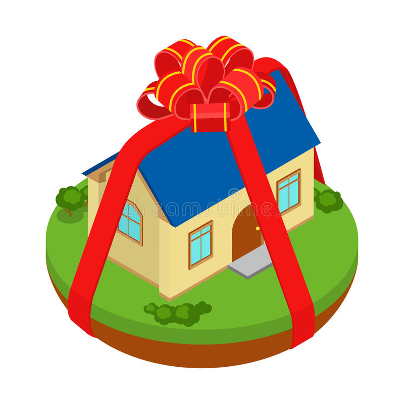 Isometrisch huis zoals gift in vector vlak onroerende goederenconcept vector illustratie