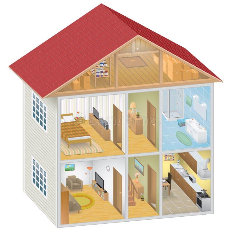 Isometrisch Huisbinnenland vector illustratie