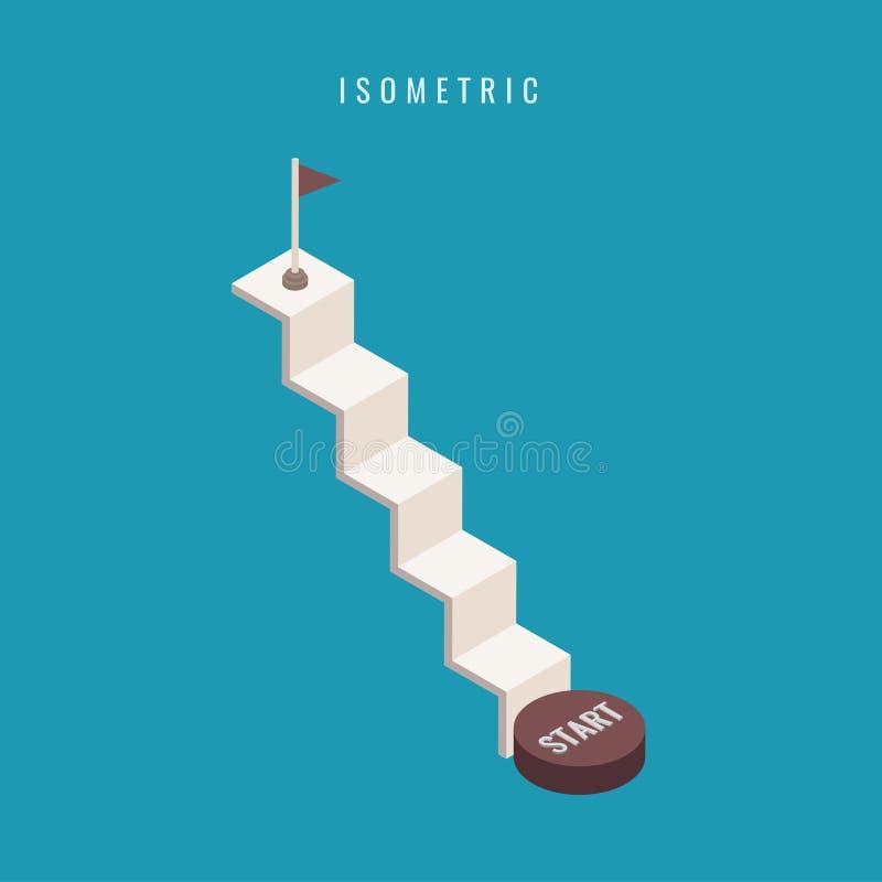 isometrisch ikone Stellen Sie Treppenhaus 3d konkret ein Löschen Sie herauf Leiterisolator stock abbildung