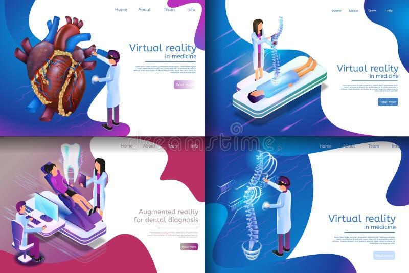 Isometrisch Illustratie Virtueel Medisch Onderzoek royalty-vrije illustratie