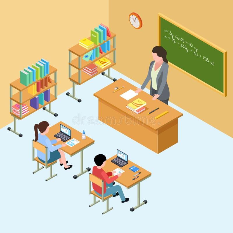 Isometrisch klaslokaal met leraar en jonge geitjes Middelbare school vectorillustratie vector illustratie