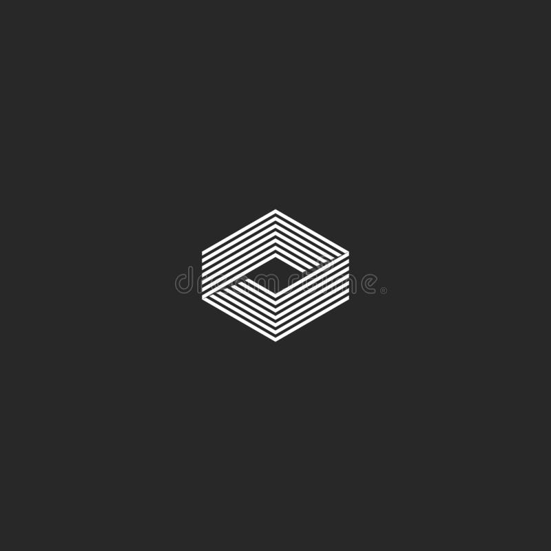 Isometrisch kubusembleem, illusie van de oneindigheids de geometrische vorm, hipster van de innovatietechnologie van de monogram  stock illustratie