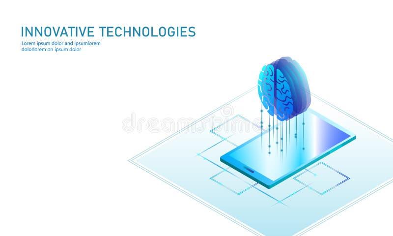 Isometrisch kunstmatige intelligentie bedrijfsconcept Blauw het gloeien isometrisch online onderwijsweb die PC-smartphone leren stock illustratie