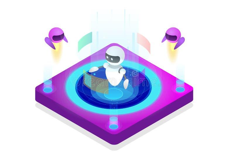 Isometrisch kunstmatige intelligentieconcept Technologie en techniek Het onderwijzen en het Leren in Digitale Wereld Digitaal vector illustratie