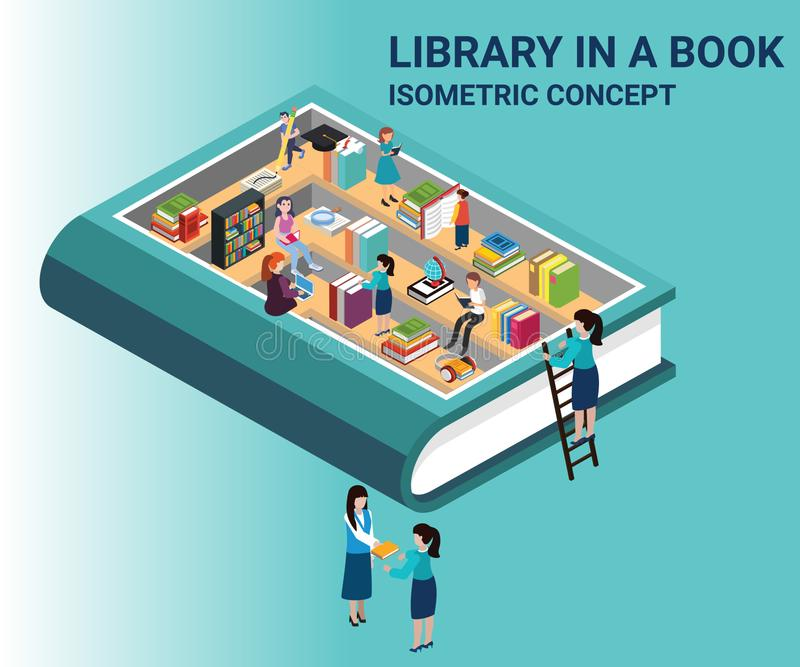 Isometrisch Kunstwerk van een Boek, waar het boek de kennis van een bibliotheek bevat stock illustratie