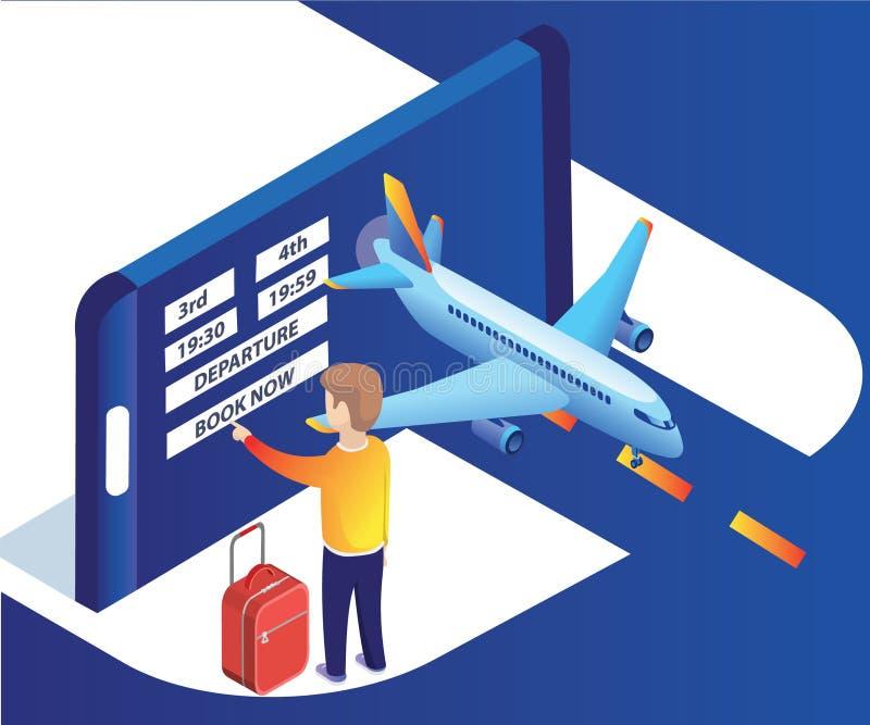 Isometrisch Kunstwerk van een mens het boeken vliegtuigkaartjes online met gemakkelijk en zonder enige ruzie stock illustratie