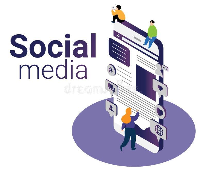 Isometrisch Kunstwerkconcept sociale media die zaken op de markt brengen te helpen groeien vector illustratie