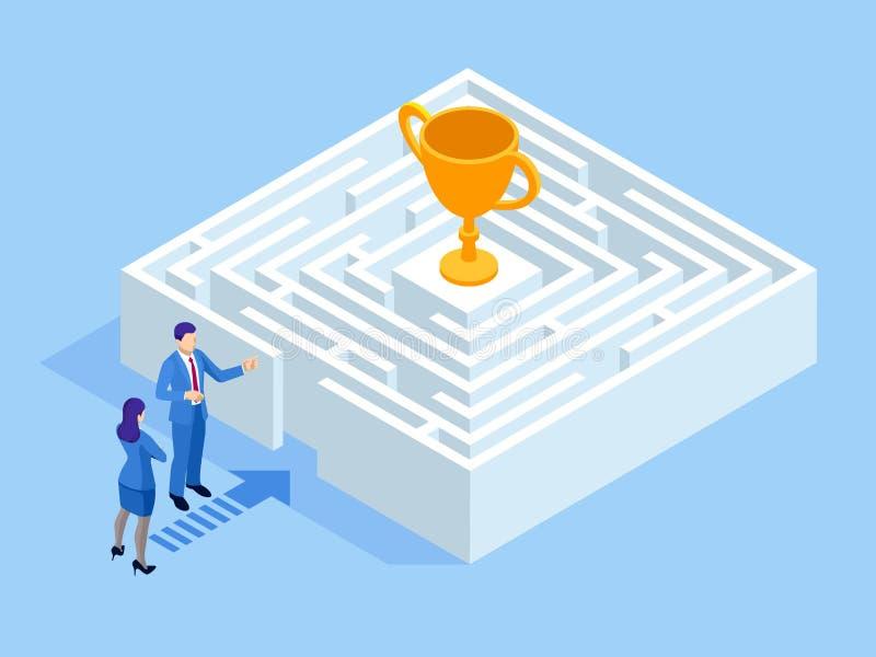 Isometrisch labyrint bedrijfsconcept Commercieel team die oplossing in een labyrint zoeken uitdaging royalty-vrije illustratie