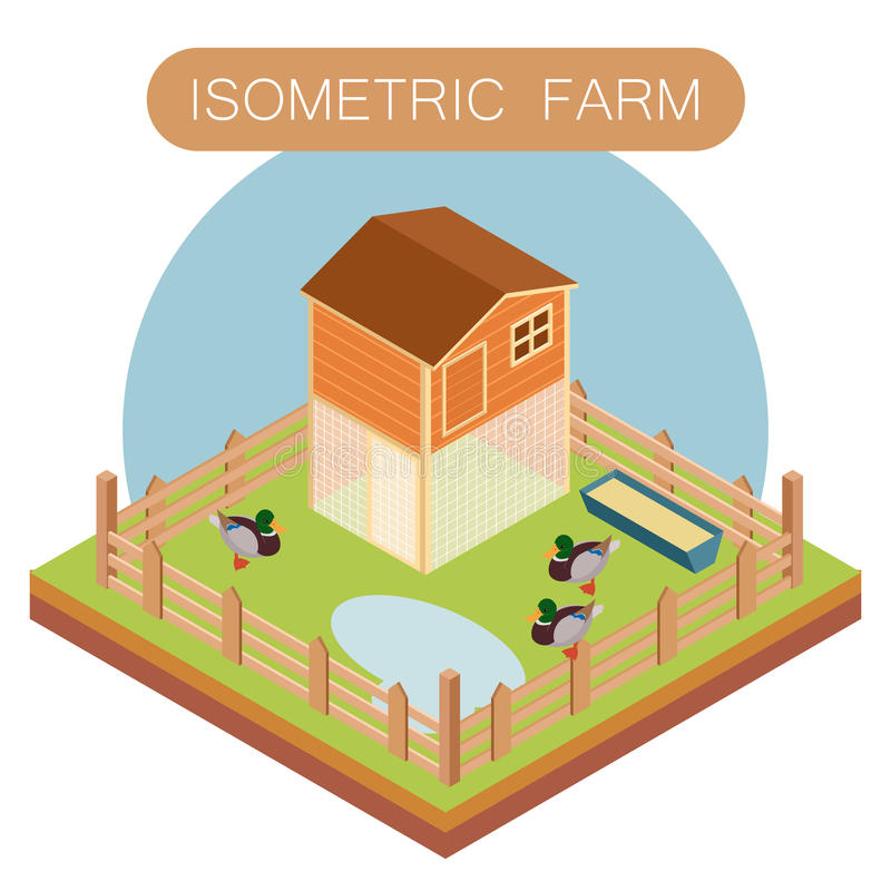 Isometrisch landbouwbedrijfhuis voor eenden vector illustratie