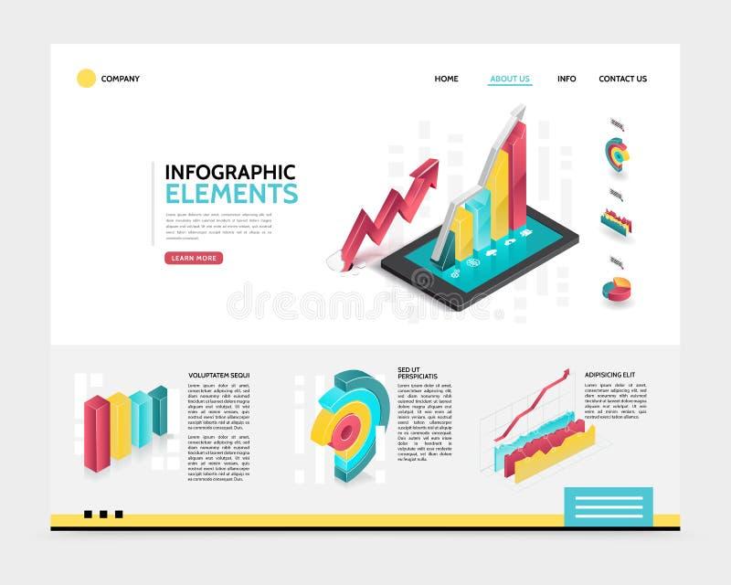 Isometrisch Landend de Paginamalplaatje van Infographic vector illustratie