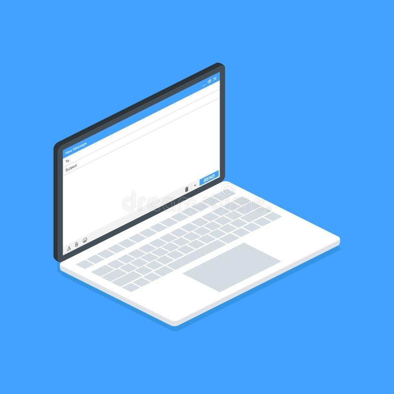 Isometrisch laptop E-mail bericht Leeg venster van E-mail, malplaatje Interface van het de postkader van e-mail de lege malplaatj vector illustratie