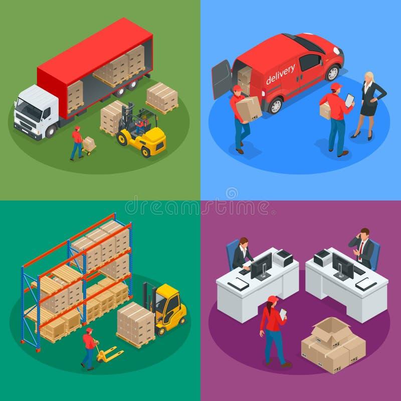 Isometrisch Logistiek en Leveringsconcept Leveringshuis stock illustratie