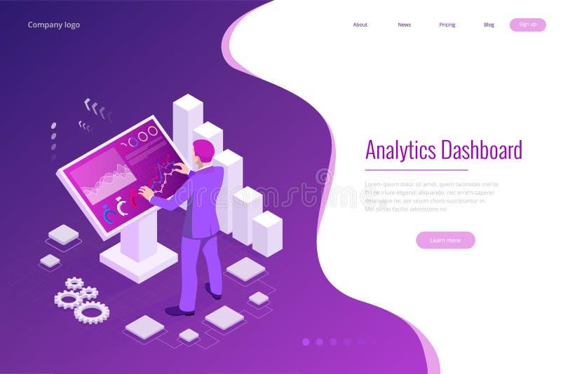Isometrisch mannetje voor het grote scherm voor gegevensanalyse Statistieken en bedrijfsverklaring, Analytics-dashboard vector illustratie
