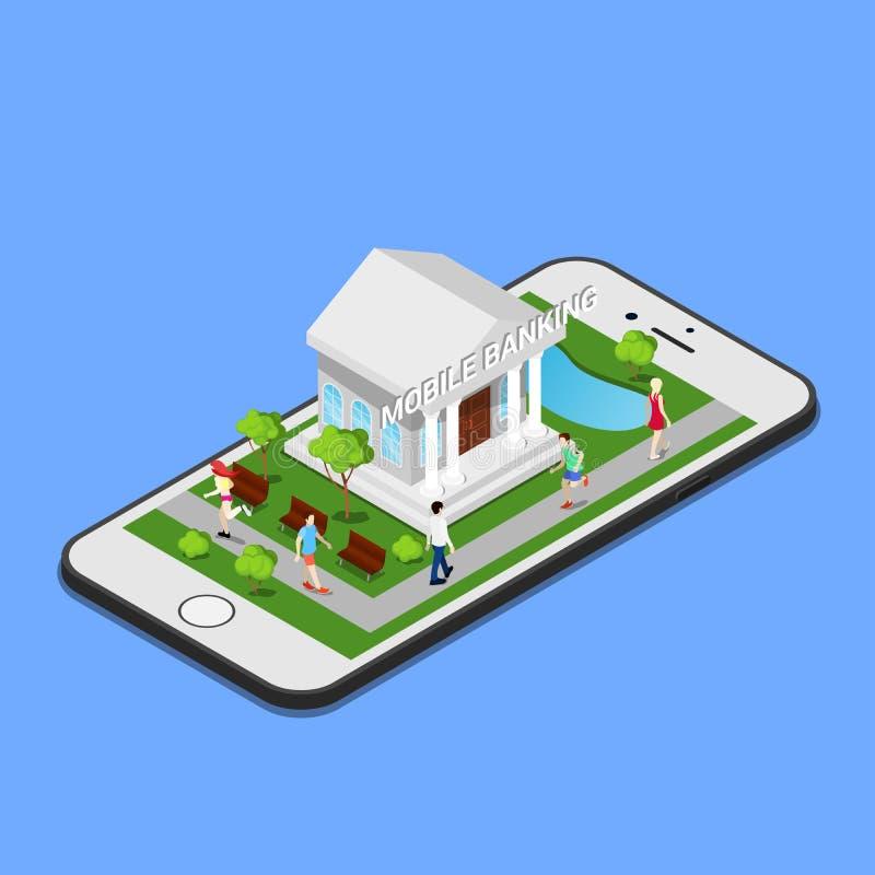 Isometrisch Mobiel Bankwezen Isometrische bank Mobiele Betaling royalty-vrije illustratie