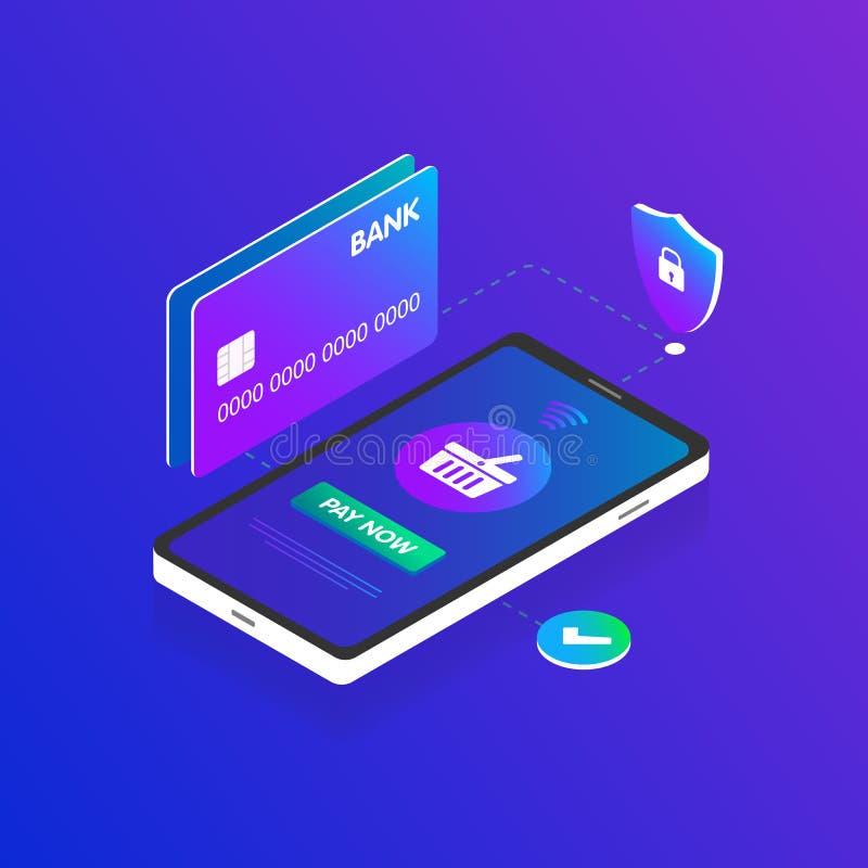 Isometrisch Mobiel Smartphone online het winkelen 3d vectorconcept De kredietbetaalpas, de veiligheid, het mandpictogram en de kn vector illustratie