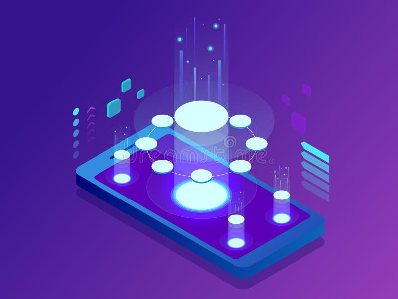 Isometrisch Mobiel Toepassingenconcept Ontwikkelt programmering en coderend technologieënconcept Het Gebruikersinterface van UX U royalty-vrije illustratie