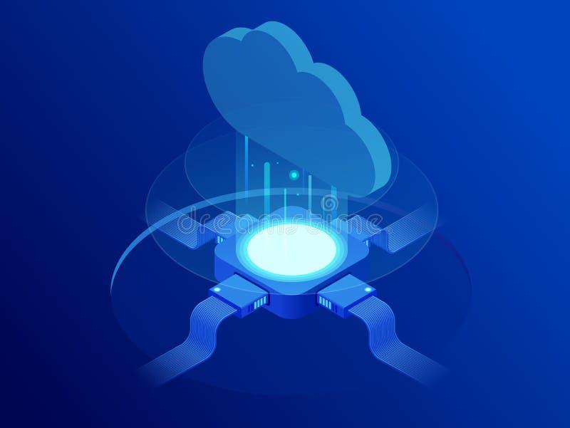 Isometrisch modern van het wolkentechnologie en voorzien van een netwerk concept De technologiezaken van de Webwolk De datadienst stock illustratie