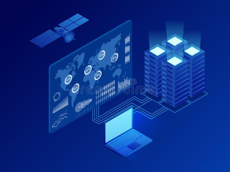 Isometrisch mondiaal informatie digitaal net, grote gegevens - verwerking, energiepost van toekomst, het rek van de serverruimte, vector illustratie