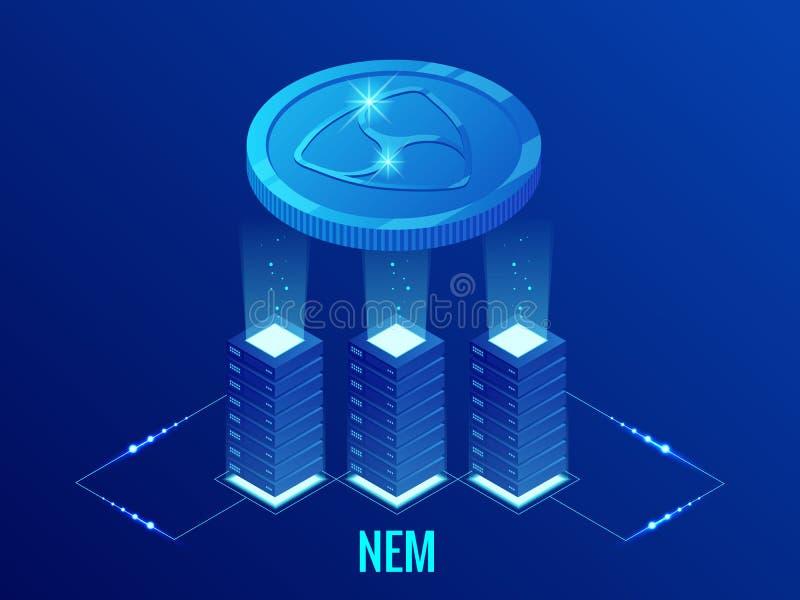 Isometrisch NEM Cryptocurrency-mijnbouwlandbouwbedrijf Blockchaintechnologie, cryptocurrency en een digitaal betalingsnetwerk voo stock illustratie