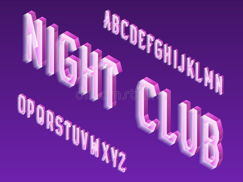 Isometrisch neon vectortype Lichtgevende brievendoopvont Geïsoleerd Engels 3d alfabet De inschrijving van de nachtclub royalty-vrije illustratie