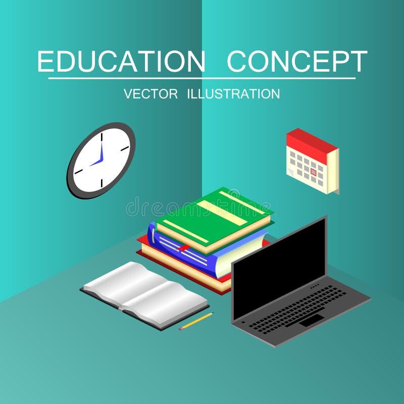 Isometrisch onderwijs en graduatie vectorconcept 3d terug naar Sc royalty-vrije illustratie
