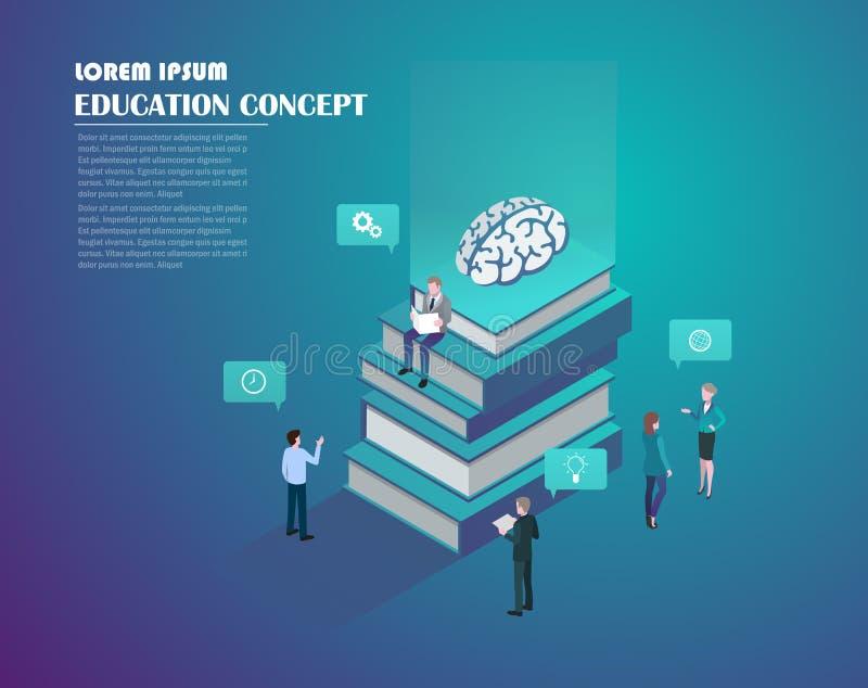 Isometrisch onderwijs en wetenschap stock illustratie