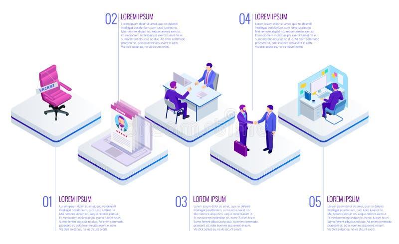 Isometrisch Online baanonderzoek en menselijk middelconcept Infographics van Bedrijfsgegevensvisualisatie Procesgrafiek baan royalty-vrije illustratie