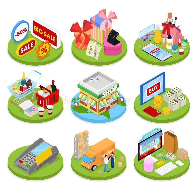 Isometrisch online het winkelen concept Mobiele Betaling Internet-opslag Elektronische Zaken stock illustratie